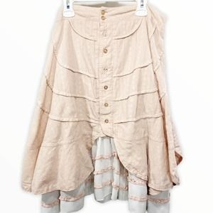 YoungEssence Pink Cottagecore Prairie Ruffle Skirt